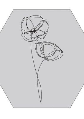Muurhexagon viooltje oneline grijs