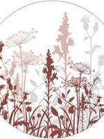 Muurcirkel veldbloemen steenrood  40cm