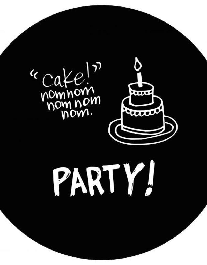 Muurcirkel Party zwart 30cm