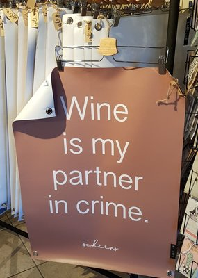 Tuinposter Wine is my .....  steenrood 60X80cm