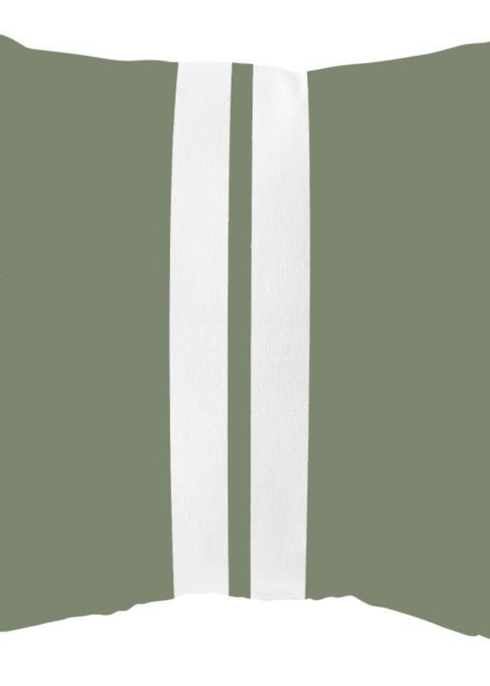 buitenkussen Olijfgroen Streep 40x40