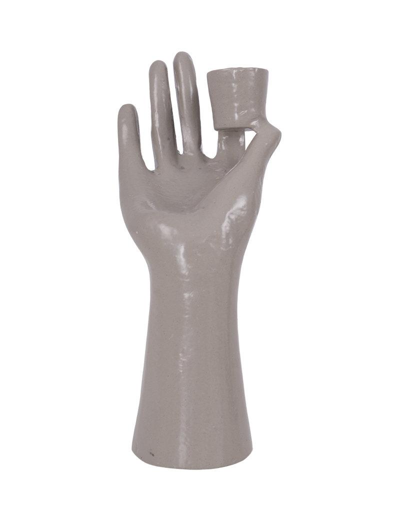 ZUSSS hand kandelaar grijs