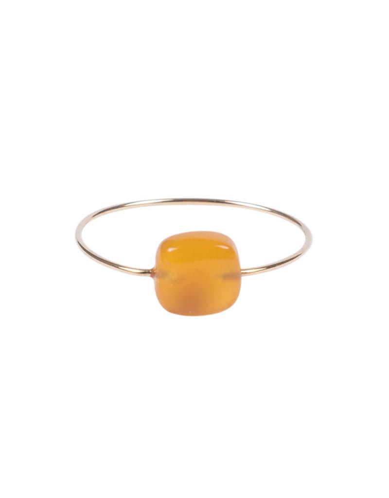 ZUSSS ring met vierkante steen Oranje