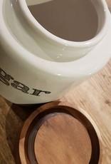 Voorraadpot ceramic met hout Sugar