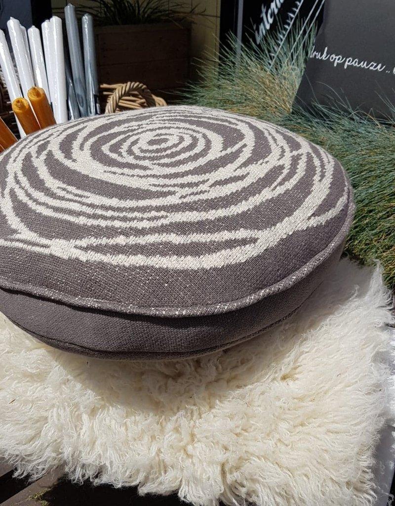 kussen cirkel gebreid 50x5cm grijs