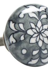 IB LAURSEN Porselein knop flower wit/grijs en Wit/zwart