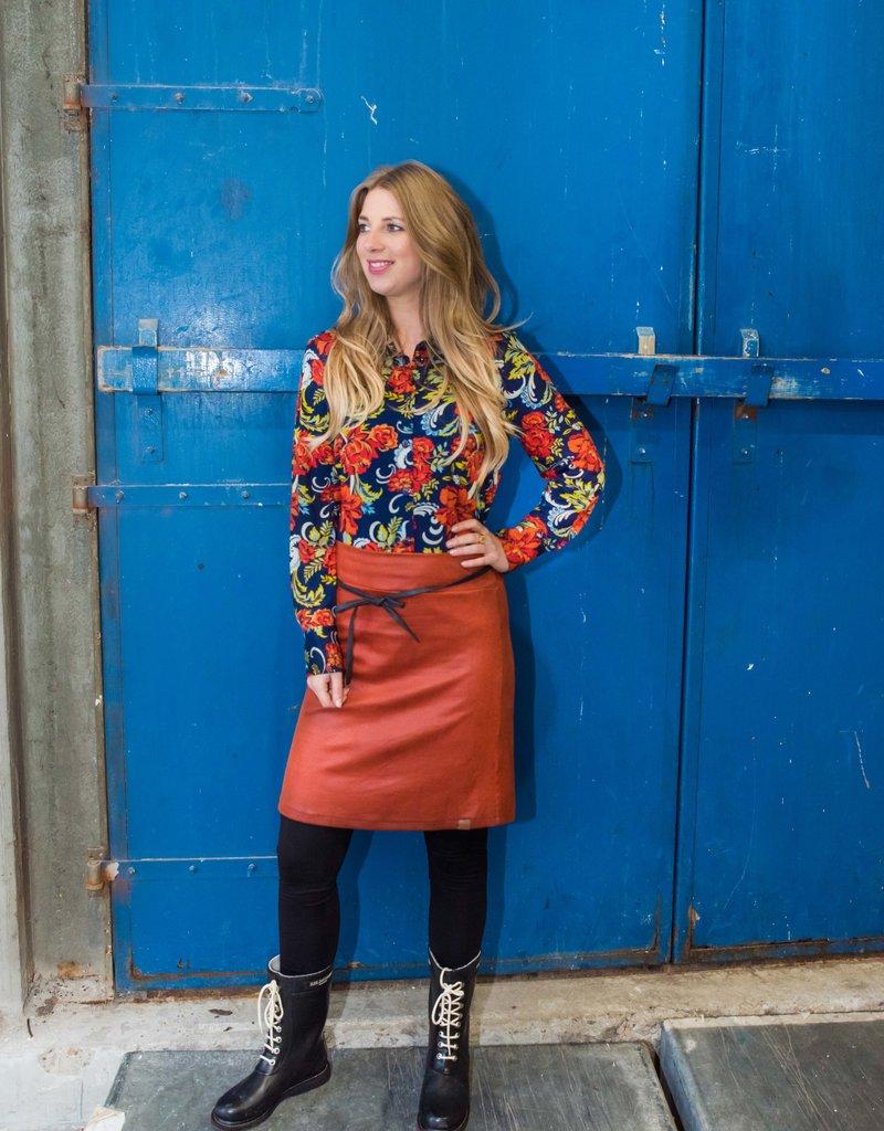 MOOI VROLIJK Skirt Nice Leather Basic Rust Brown