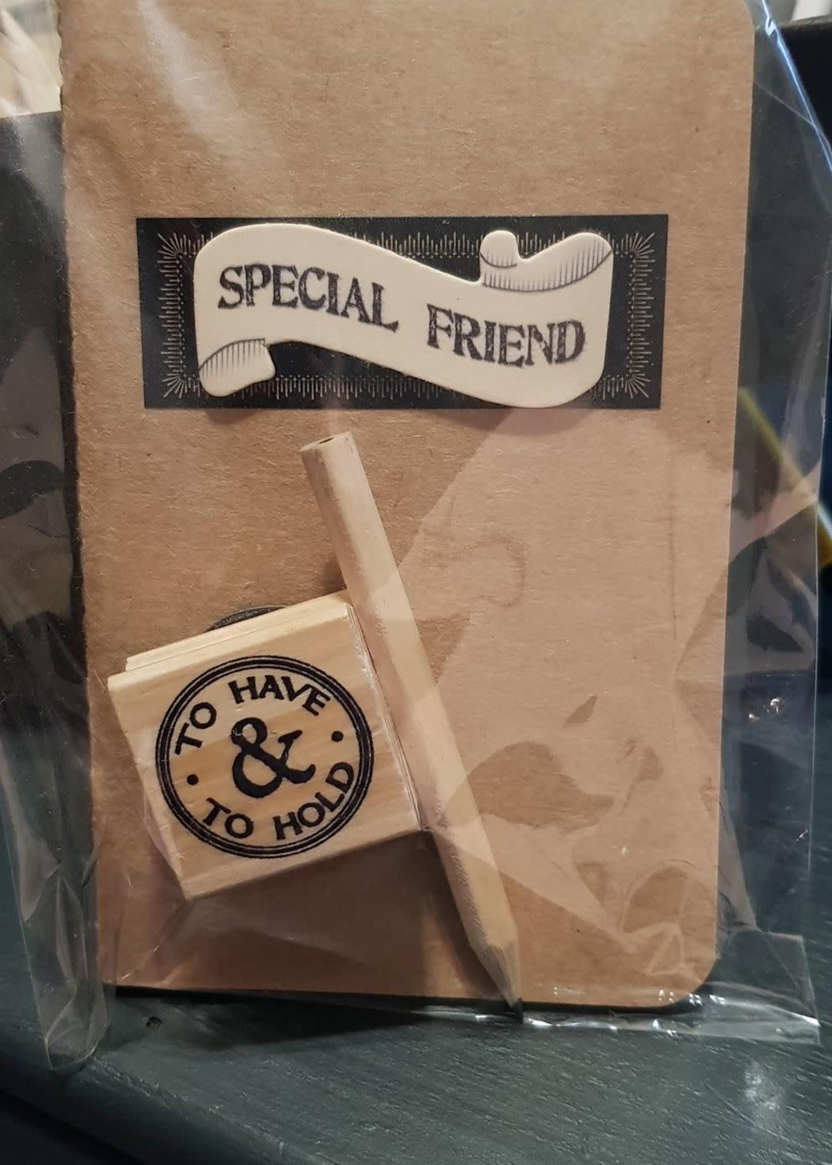 Opschrijfboekje Special Friend met potlood en stempel