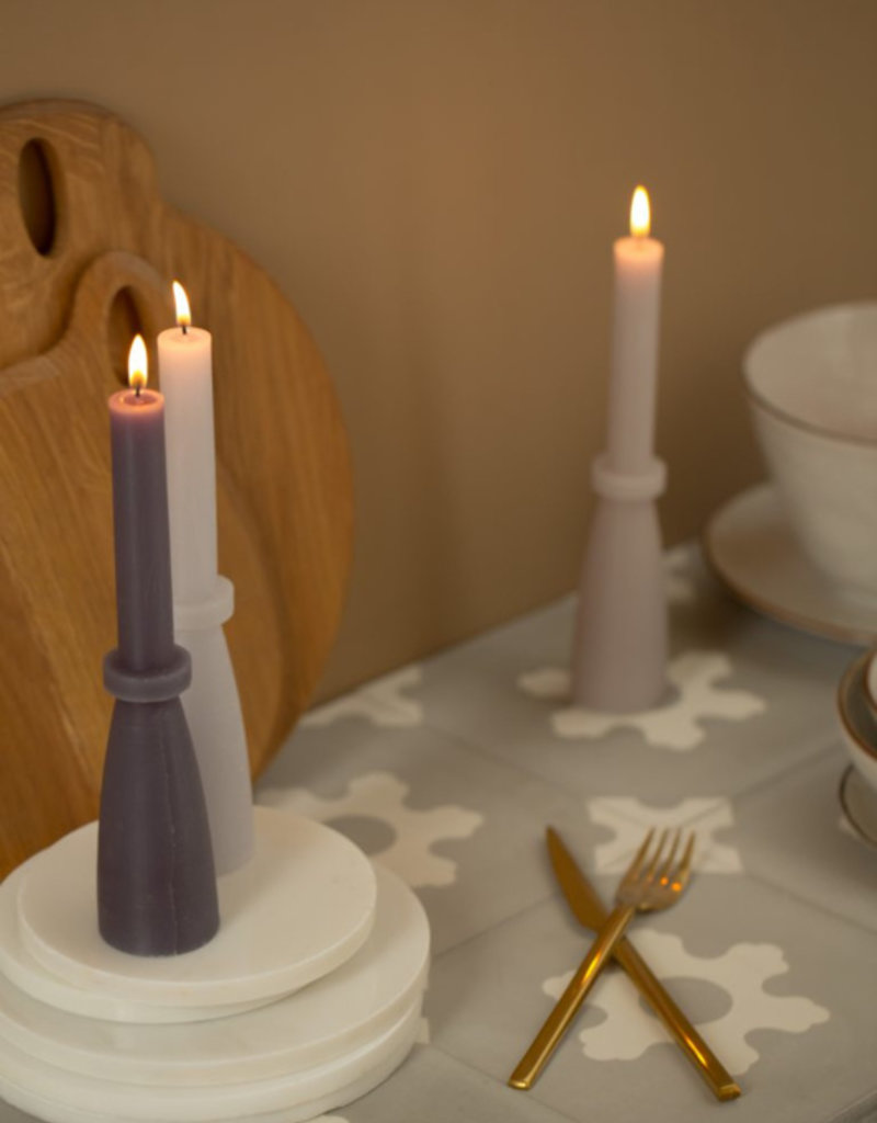 Rustic sculpture candle linnen