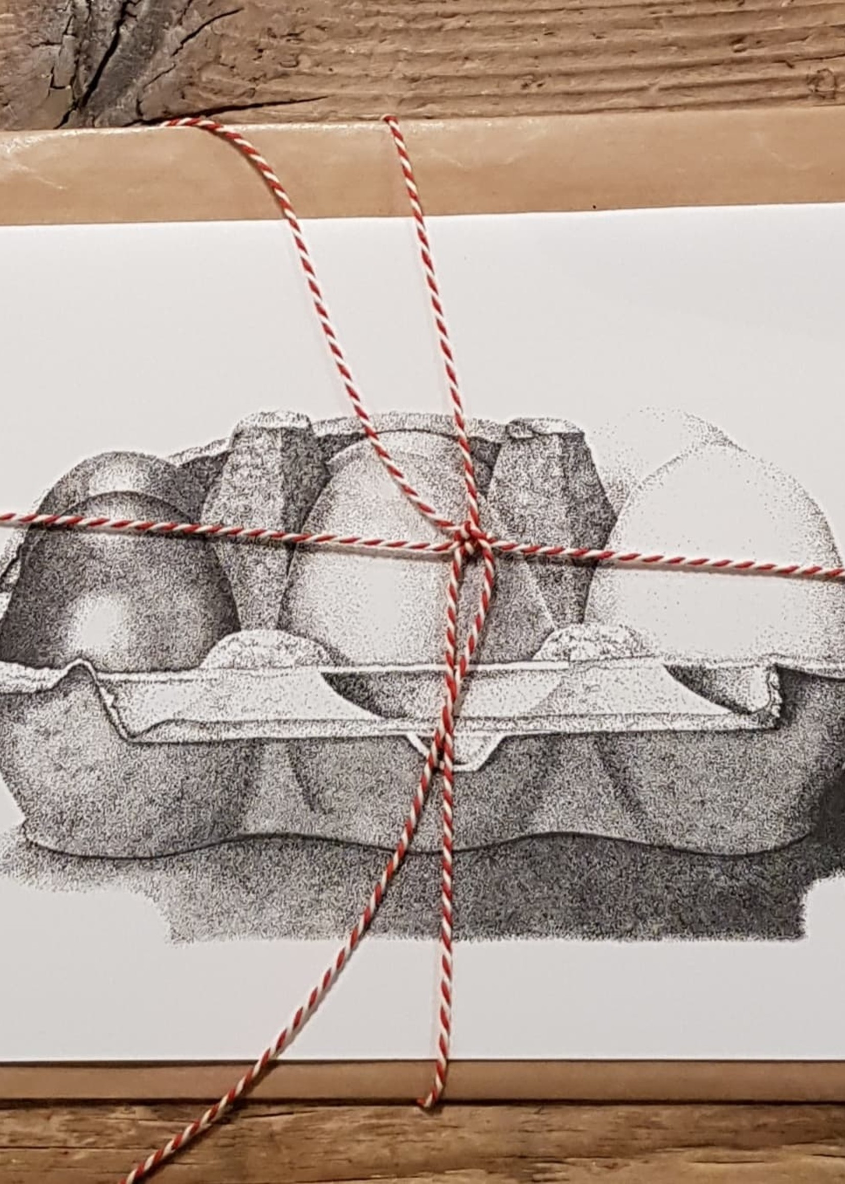 Handgemaakte kaart eieren incl enveloppe
