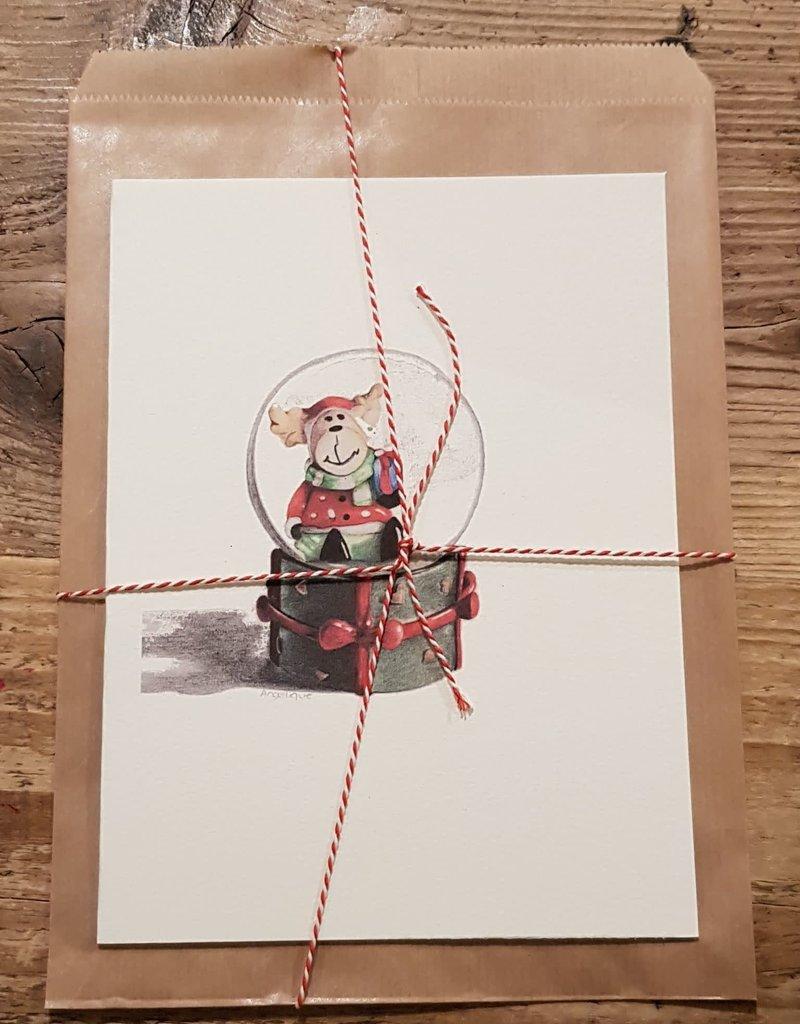 Handgemaakte kaart beer incl enveloppe