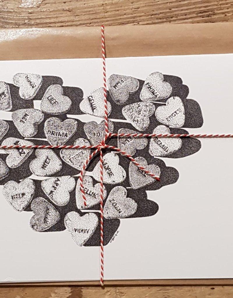 Handgemaakte kaart hartjes incl enveloppe
