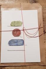 Handgemaakte kaart wol incl enveloppe
