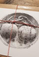Handgemaakte kaart kersen incl enveloppe