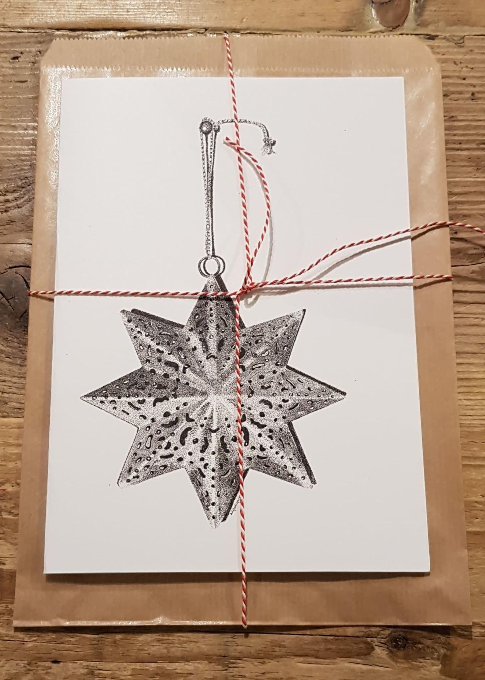 Handgemaakte kaart ster incl enveloppe