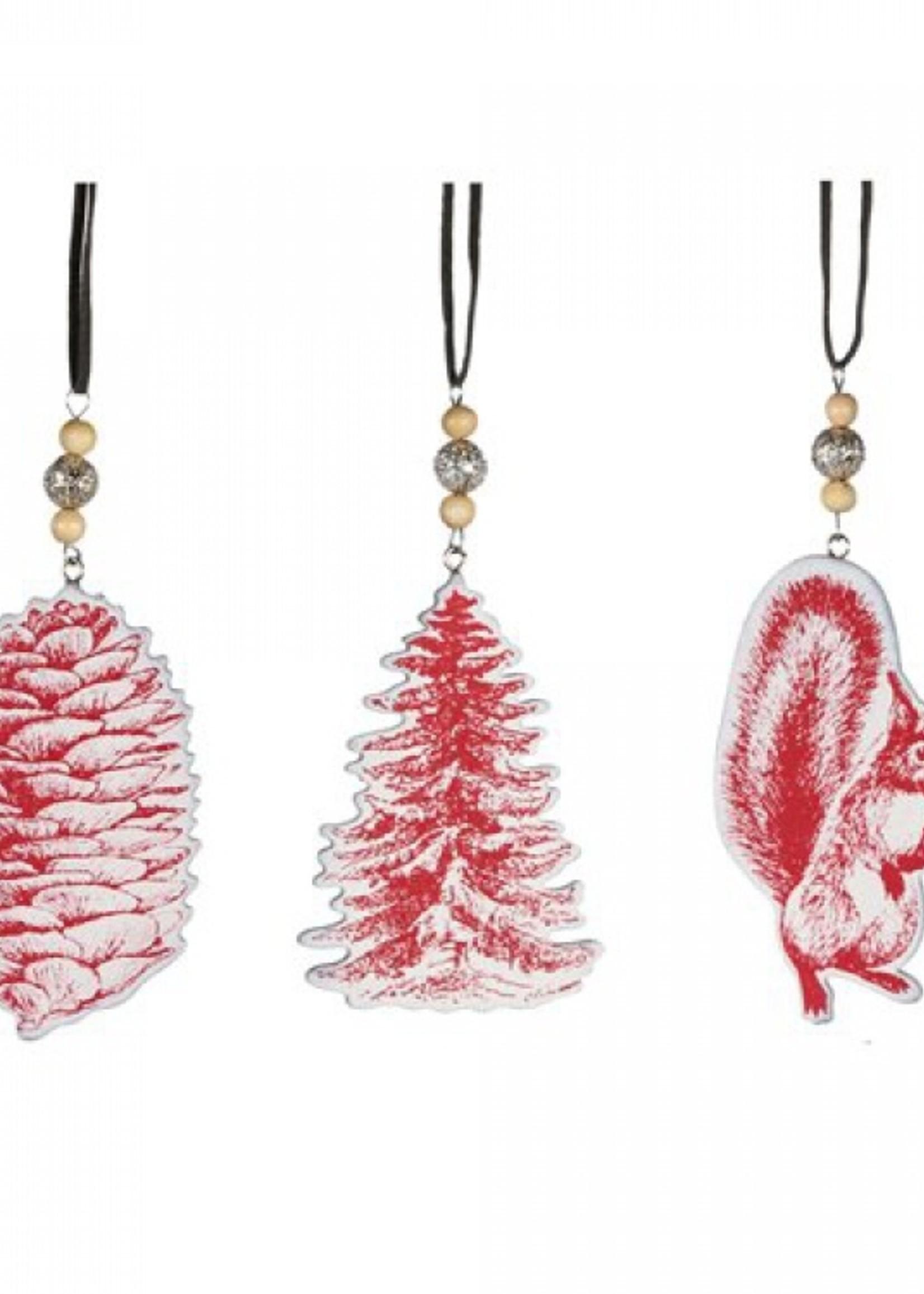 Platte hout boomdecoratie  in rood of grijs