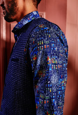 A Fish Named Fred Waistcoat structure knit blue