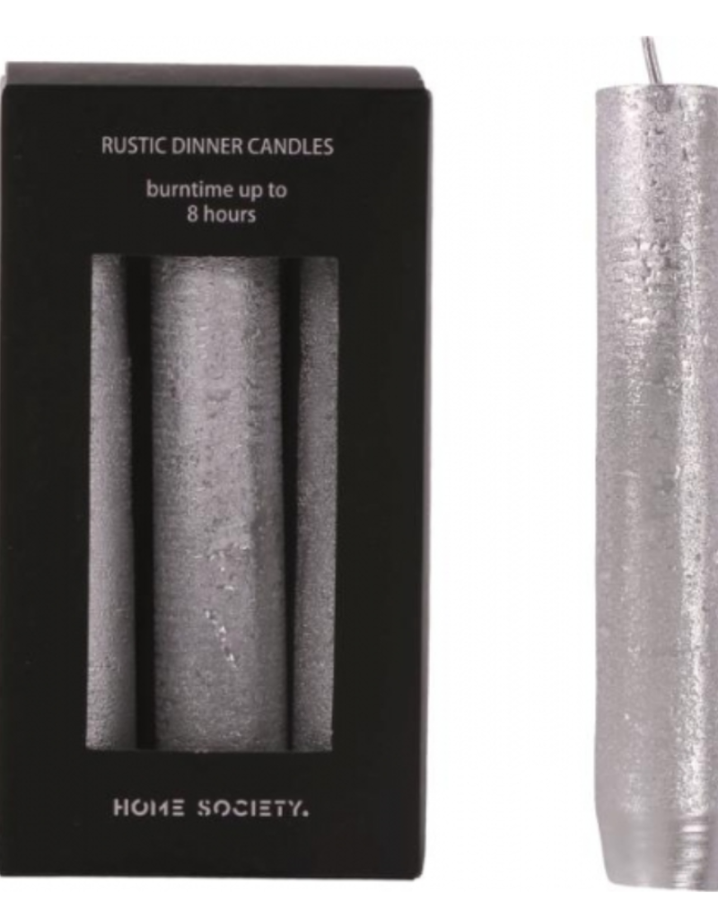 Rustic dinner candles zilver