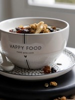 BASTION COLLECTIONS Bowl white/happy food 13x7cm