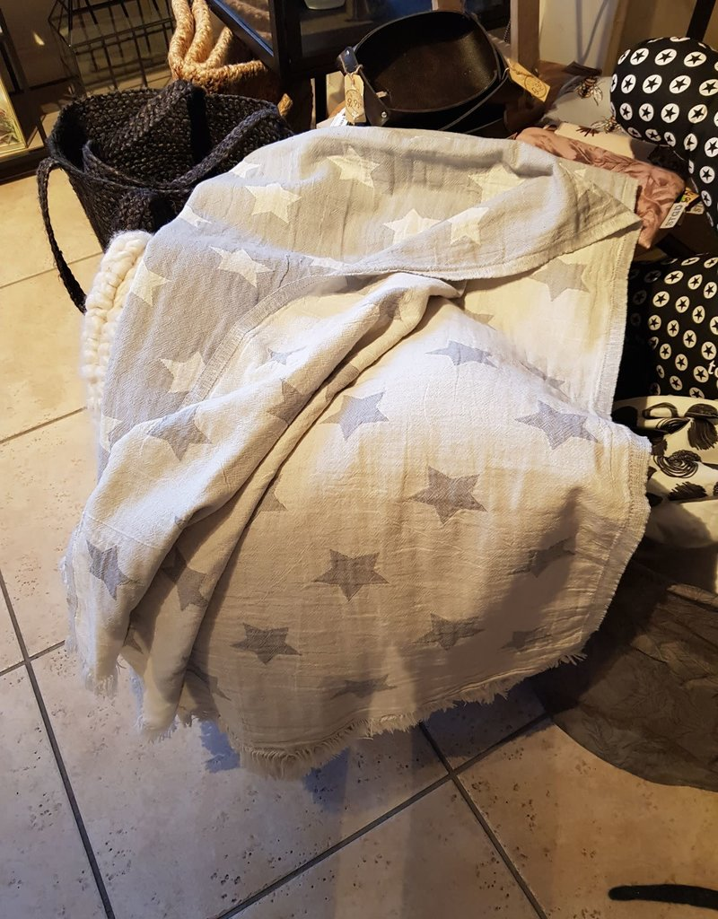 Plaid of deken ster grey