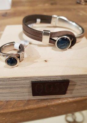 QOSS Gwen ring taupe - jeansblauw bol