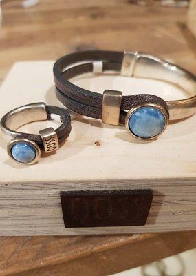 QOSS Gwen ring vntzwart hemelsblauw bol