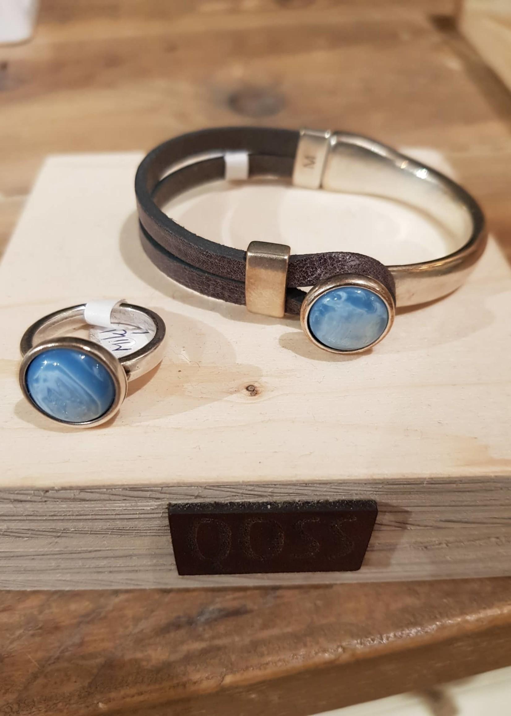 QOSS Mikki ring - lichtblauwe bol