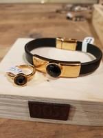 QOSS Isa ring goud zwart swarovski