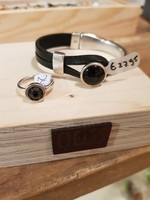 QOSS Isa ring -  zwart swarovski