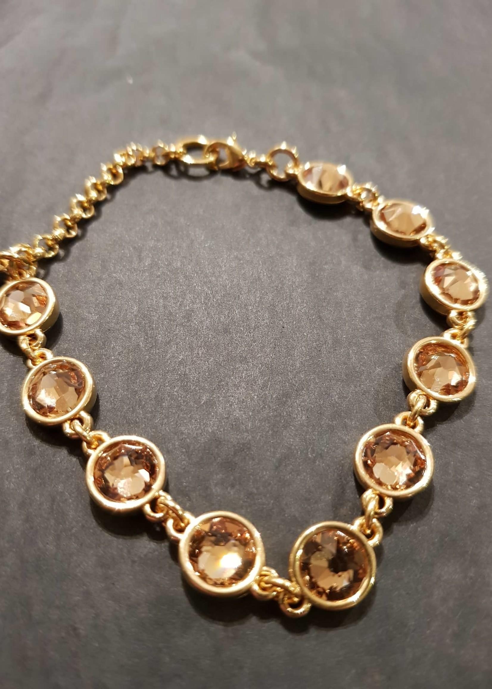 QOSS Armband Lois goud okergeel swarovski