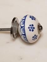 Knop blauw wit
