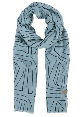 ZUSSS Sjaal met safariprint grijs-blauw