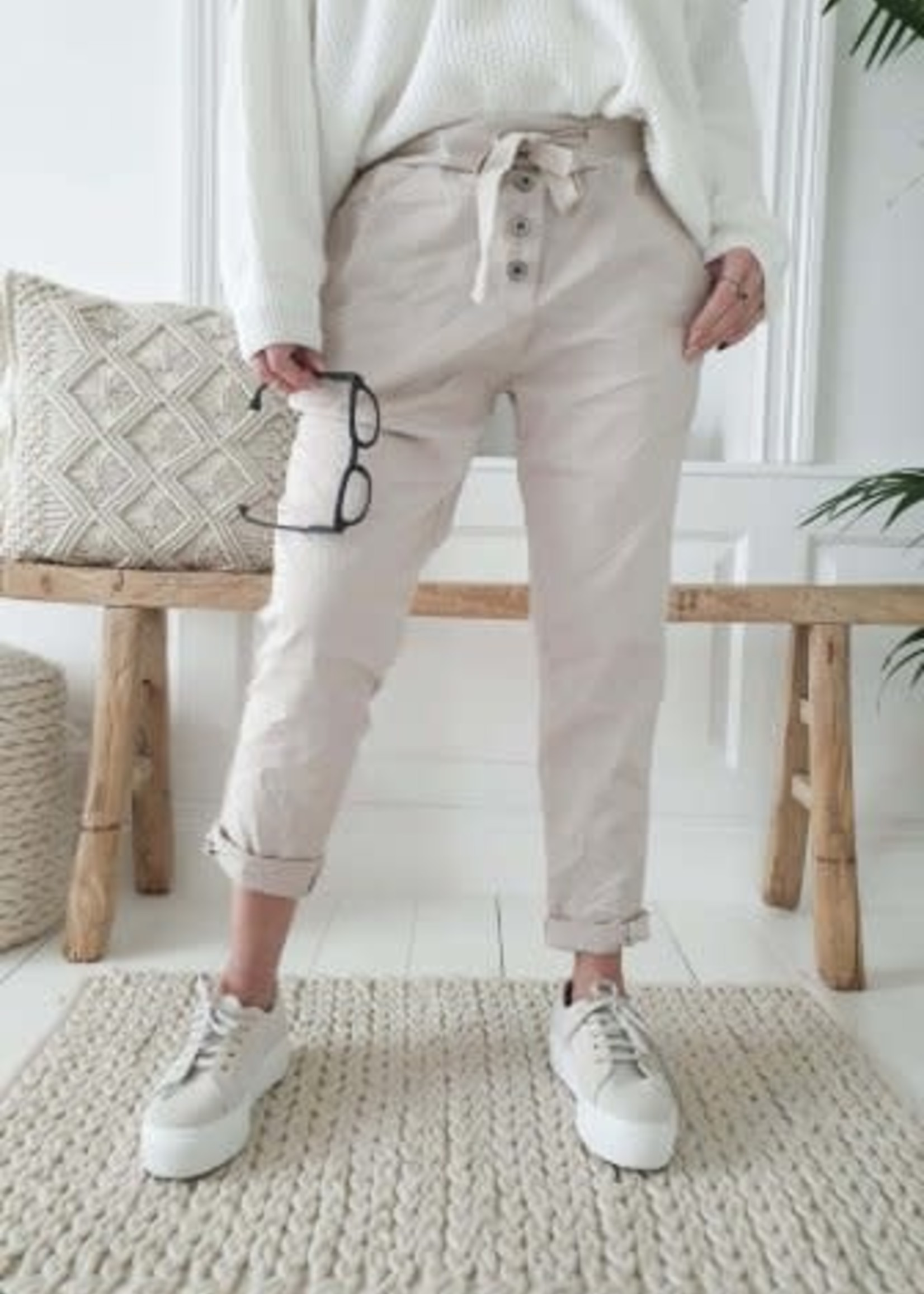 BYPIAS PERFECT JOGGERS BUTTONS, BEIGE