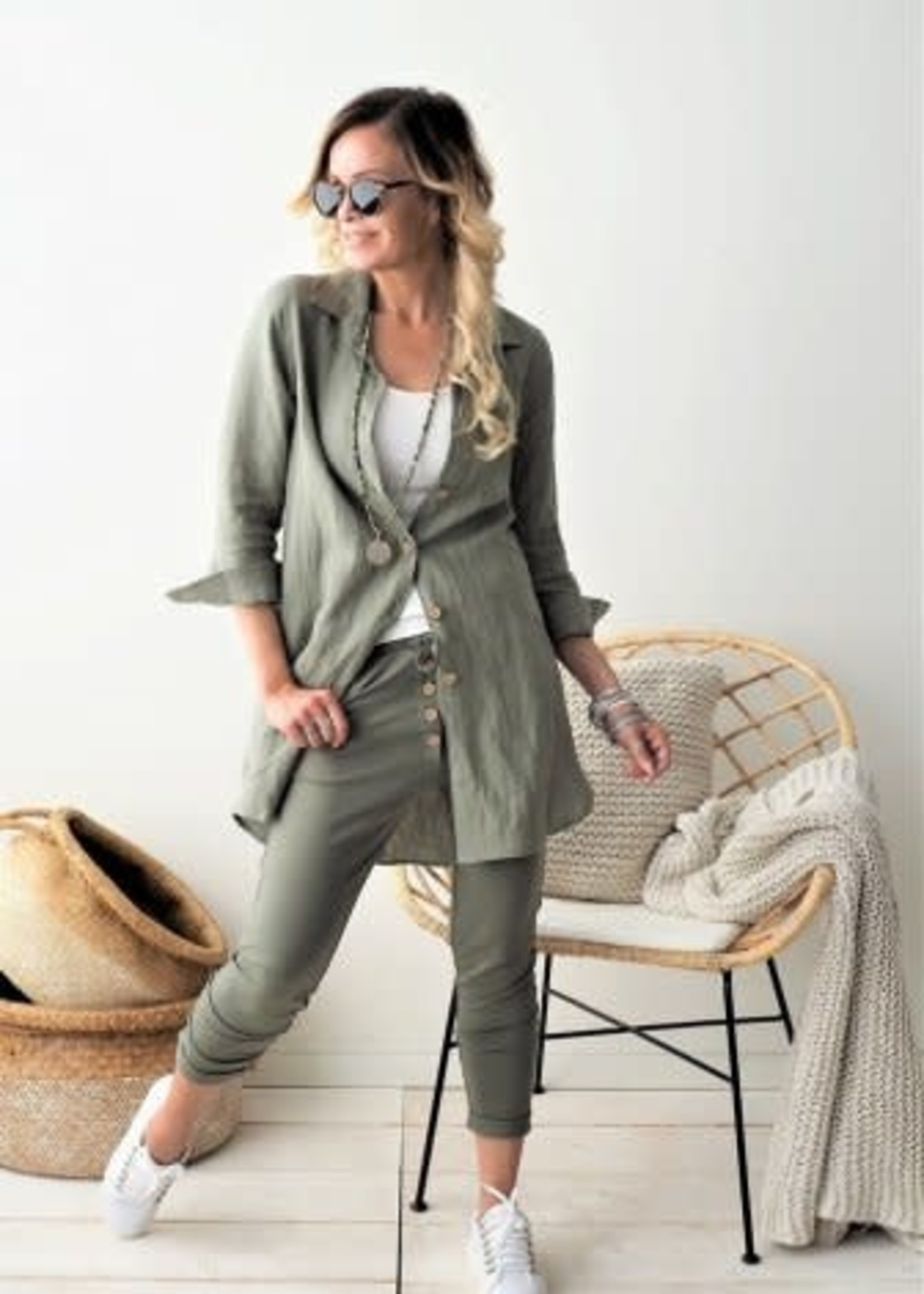 BYPIAS BAMBOO BUTTON JOGGERS, DANISH GREEN