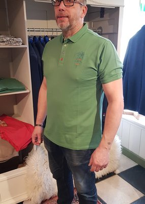 A Fish Named Fred Polo garment dye grey green