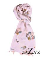 Sjaal met bloemen en kwastjes