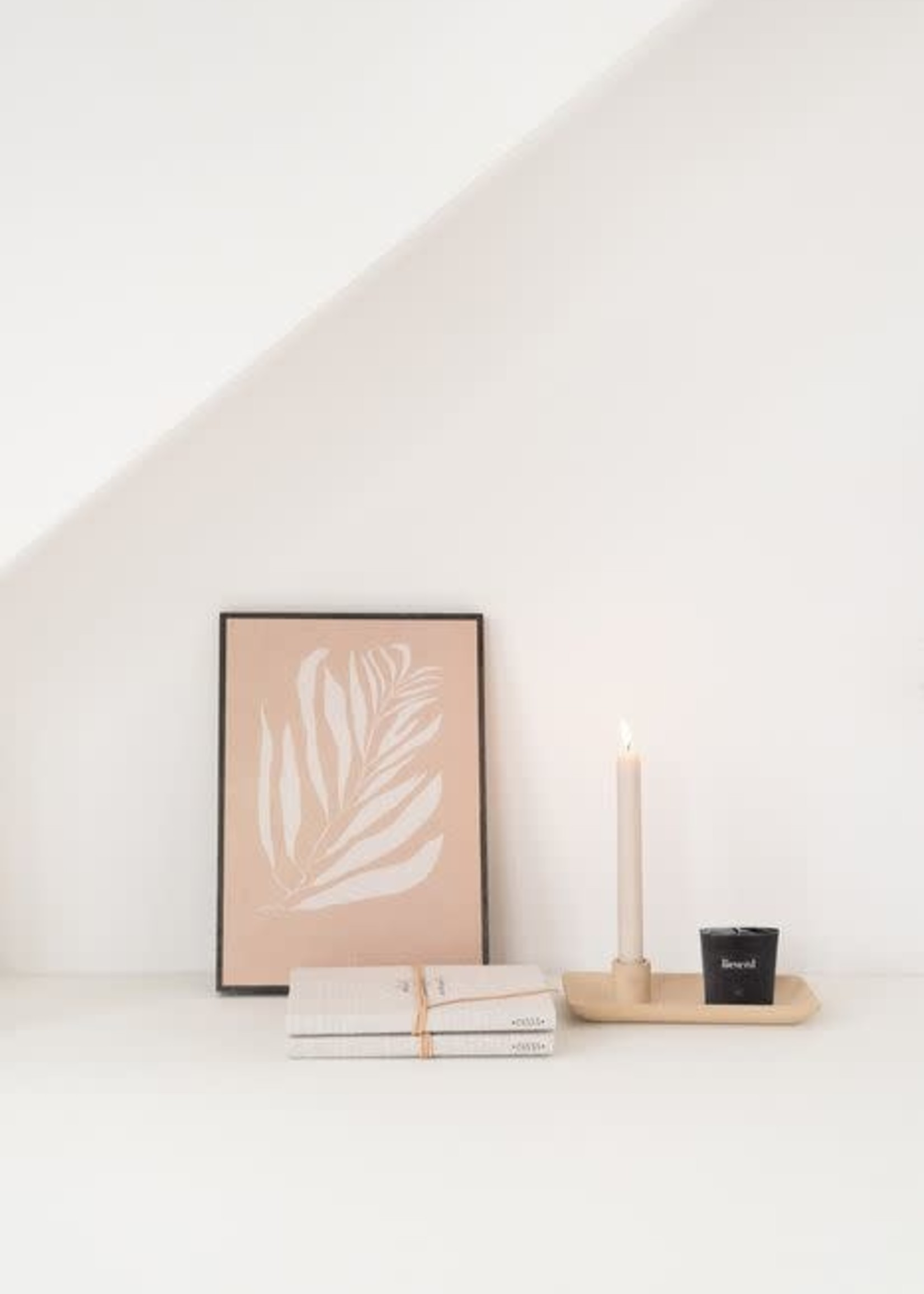 ZUSSS Kandelaar met blad keramiek zand