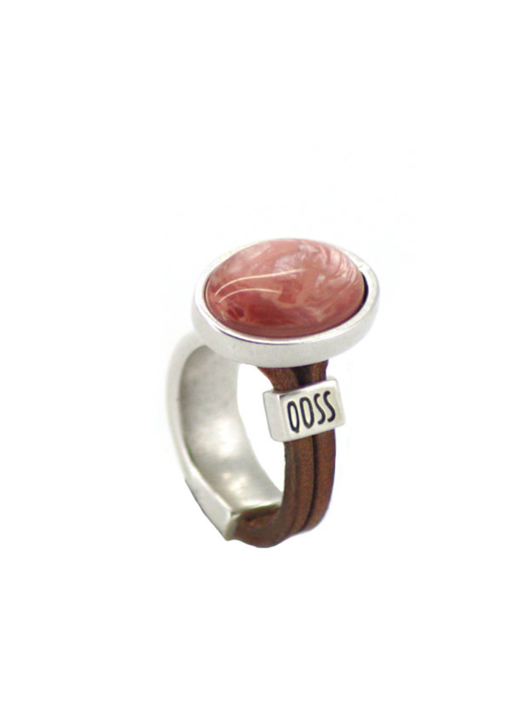 QOSS KAAT ring grijs-oud roze ovaal