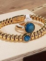 QOSS MIKKI ring goud - turquoise bol