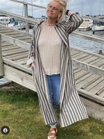 COSTAMANI Oats collar dress linen stripe