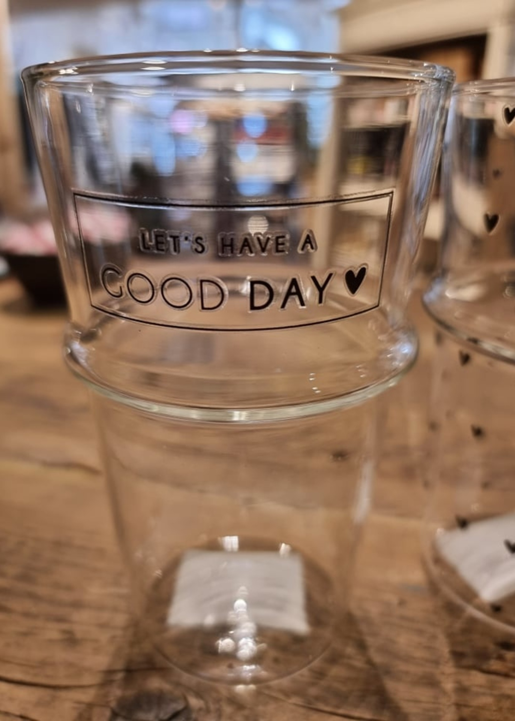 BASTION COLLECTIONS Tumbler latte glazen Good Day of Hearts