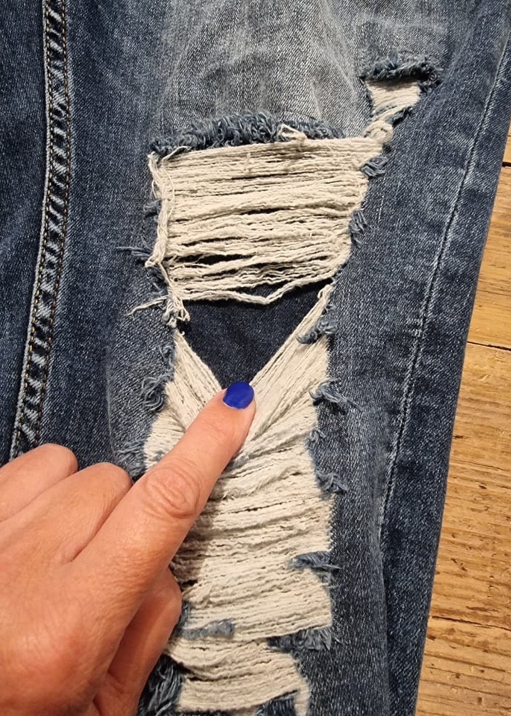 BYPIAS RIPPED JEANS, BLUE WASH Laatste maat XXL