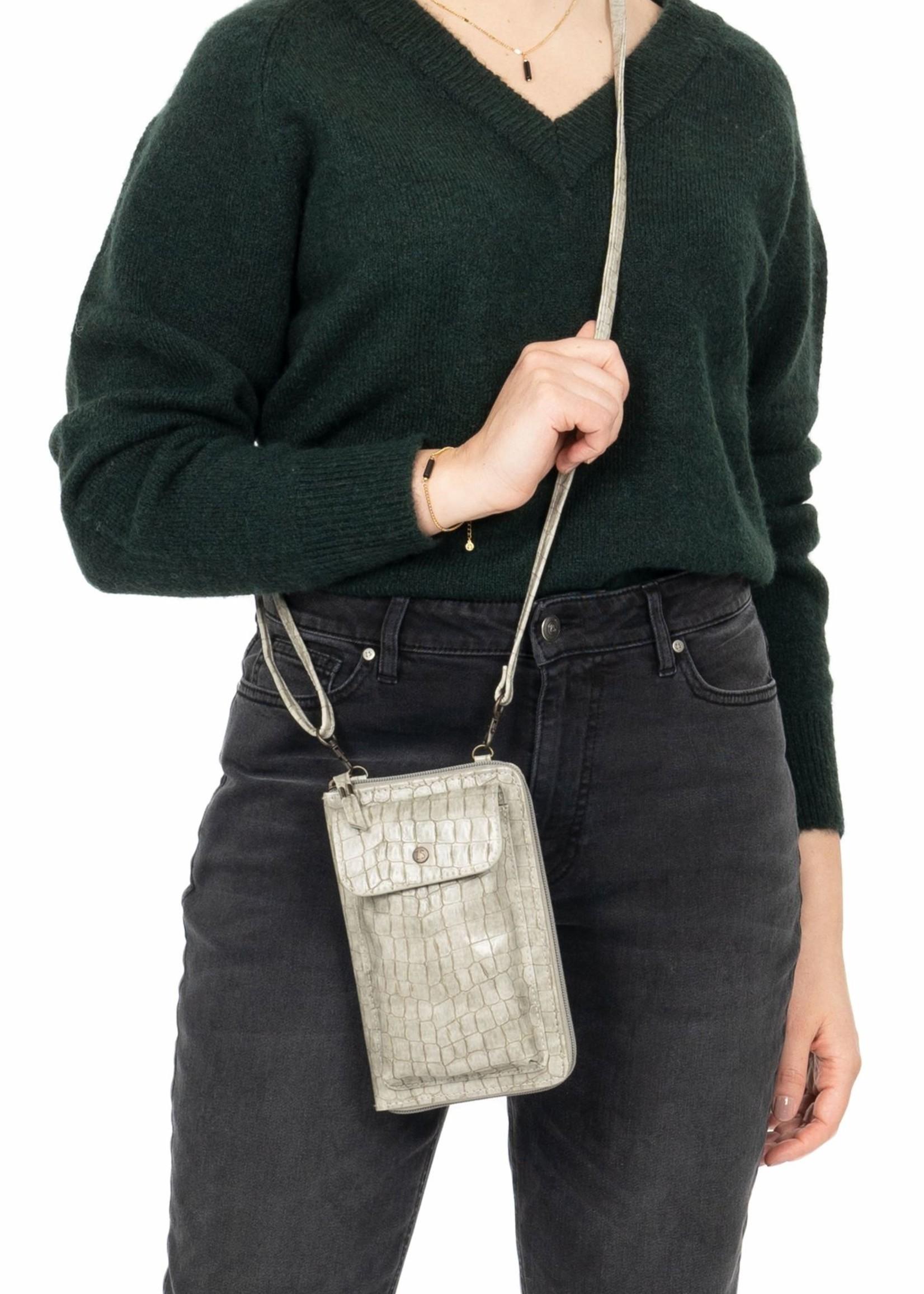 ZUSSS portemonnee telefoontasje kroko grijs