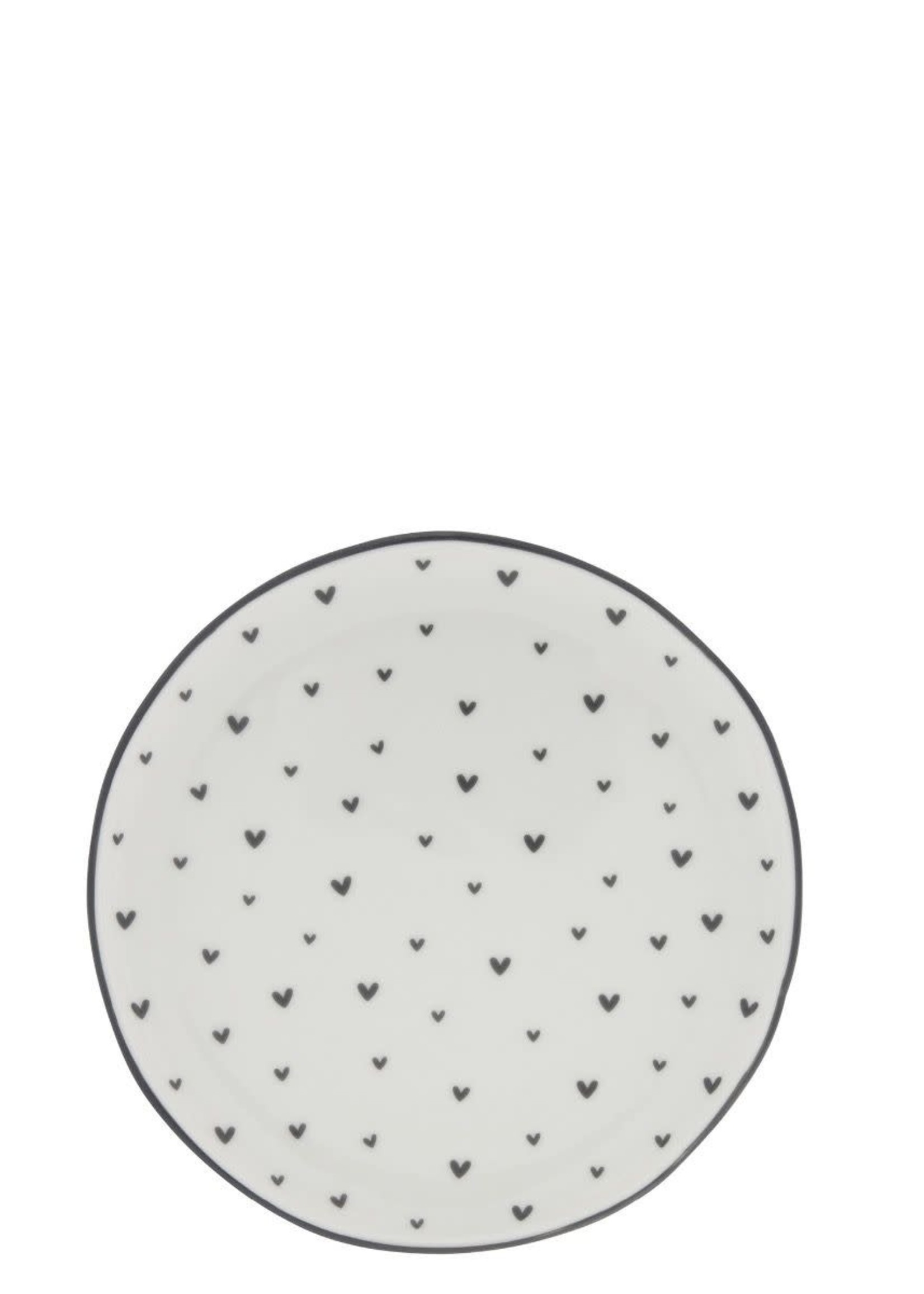 BASTION COLLECTIONS Cake plate 16cm white/ hearts in black