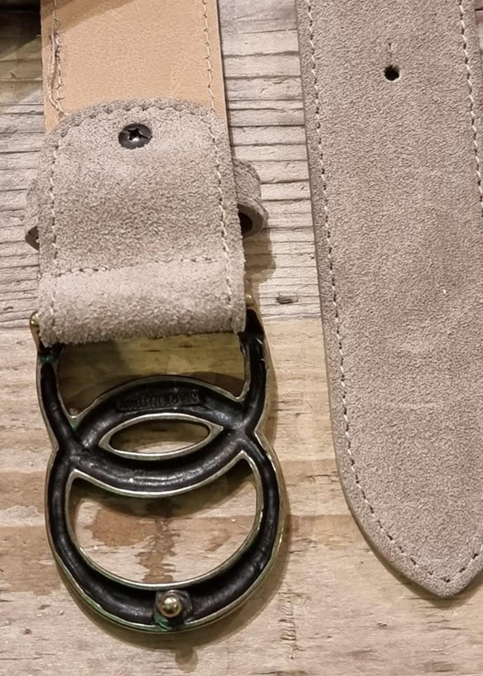 Suede/leer riem kleur zand 95cm