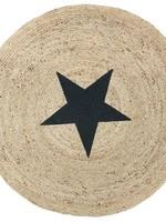 IB LAURSEN Vloerkleed rond natural jute w/black star