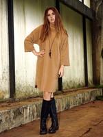 HENRIETTE STEFFENSEN Dress high neck kleur camel