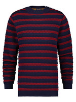 A Fish Named Fred Trui striped cable navy/red
