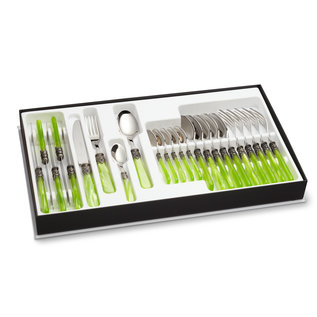 EME Napoleon Cutlery Cassette, Light Green with Mother of Pearl, 24-piece  for 6 people