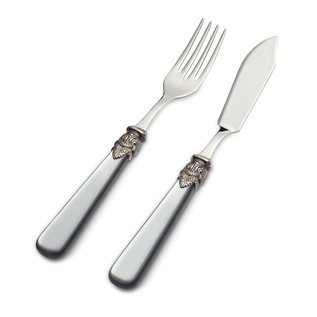 EME Napoleon Couverts à Poisson, 2 pièces ( couteau et fourchette), Gris avec Nacrée, 1 personne
